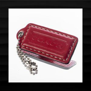 2.25″ Medium COACH RED PATENT LEATHER KEY FOB